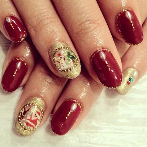 X'mas nail Looks like the snow dome⛄ #nail #nails...