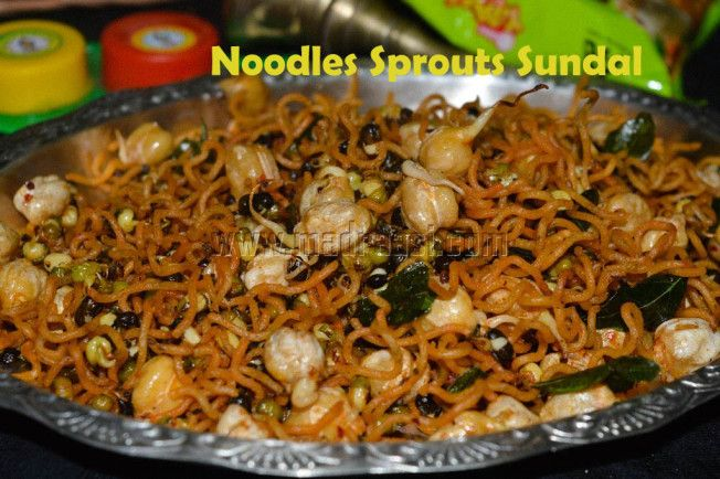 Noodles Sprouts Sundal with Sunfeast Yippe Vegetable Atta Noodles