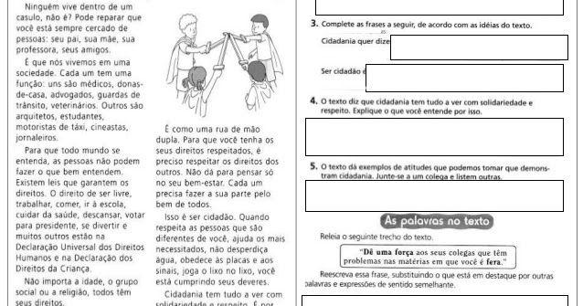 Textos Cidadania E Respeito Cidadania Atividades Alfabetizacao