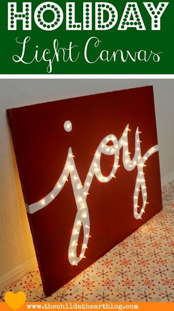 "Child at Heart: Holiday ""JOY"" Light Marquis Canvas #christmaslightdecorations"