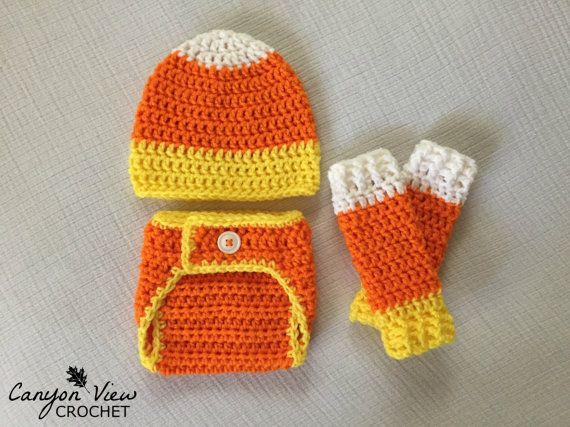 Candy Corn Baby Halloween Costume  Crochet Hat Diaper Cover and Leg Warmers Infant Newborn Halloween Photography Prop Photo Prop Outfit  #canyonviewcrochet www.CanyonViewCrochet.etsy.com