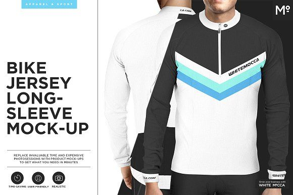 Bike Jersey Longsleeve Mock-up by Mocca2Go/mesmeriseme on @creativemarket