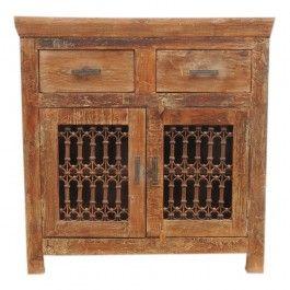 Nirvana Reclaimed Timber Antique metal Panel Jali  2 Drawer Sideboard