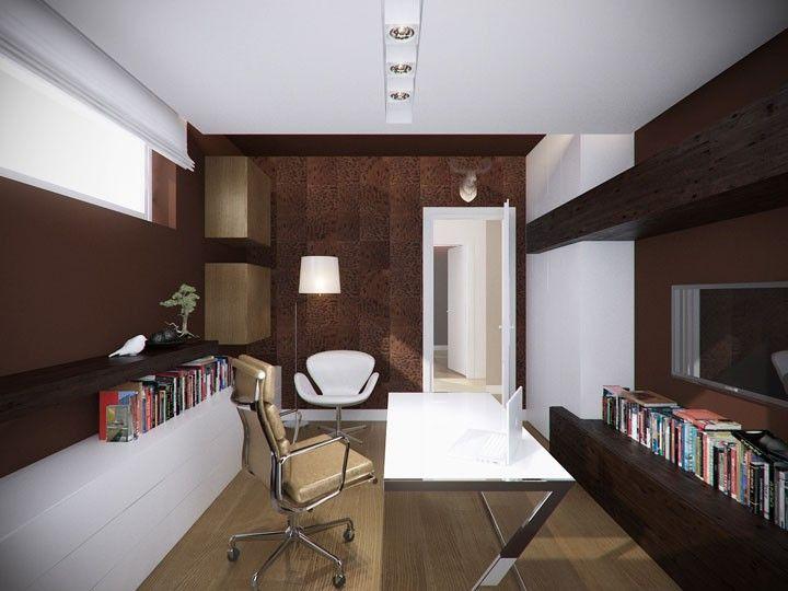 Projekt wnętrza gabinetu utrzymany w ciepłych barwach – Tissu. W projekcie wnętrza naturalne ciemne materiały kontrastują z białymi meblami.   http://www.tissu.com.pl/zdjecia/284