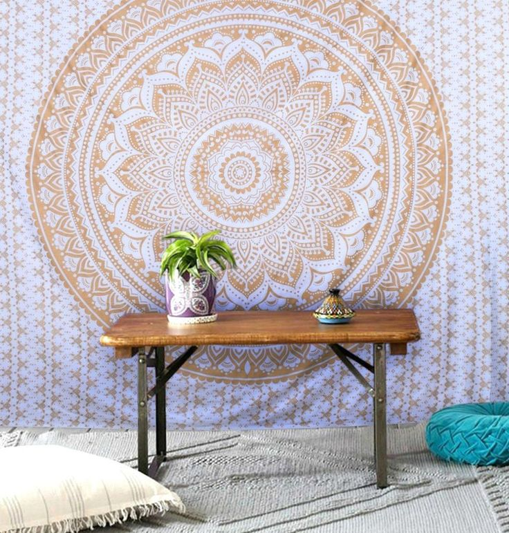 Indian Tapestry Wall Hanging Ombre Mandala Throw Hippie Gypsy Bohemian Handmade #Handmade #ArtDecoStyle #WallHangingTapestryBedspreadThrow