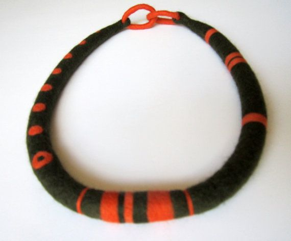 Artisanal Felt Necklace by catrinel777 on Etsy, $63.00