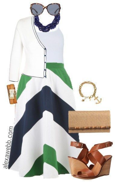 awesome Plus Size Chevron Skirt Outfit - Plus Size Fashion - alexawebb.con...