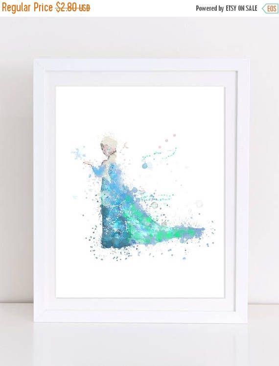 60%OFF Frozen Elsa Watercolor Poster Frozen Printable Disney