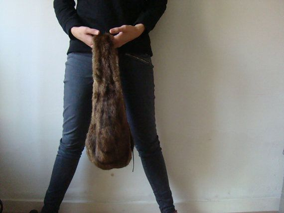 Mink fur bag eco recycled Italian leather personal mode by JJePa
