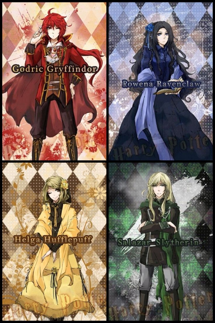 Anime Characters Hogwarts Houses : The four founders of hogwarts harry potter pinterest