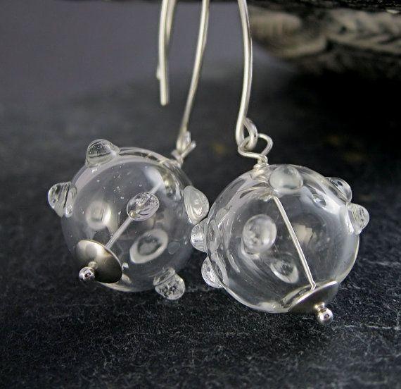 Clear  Glass Earrings     Handblown   Hollow Glass Lightweight