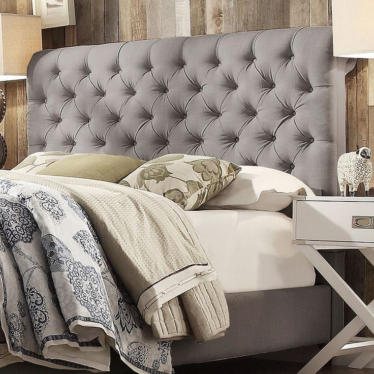 1000 ideas about grey tufted headboard on pinterest white nightstand headboards and. Black Bedroom Furniture Sets. Home Design Ideas