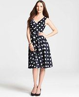 "Polka Dot High Low Hem Dress - Sweet spot: we love the turned up volume of this party perfect dress, fashioned in a charmingly twirl-worthy silhouette. V-neck. Sleeveless. Hidden back zipper with hook-and-eye closure. Lined. 24"" from natural waist in front; 29"" from natural waist in back."