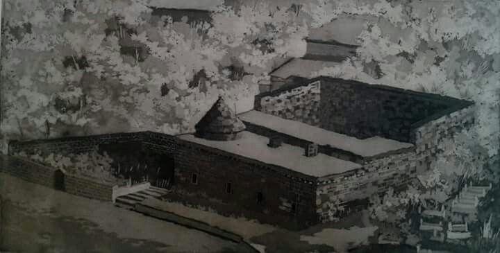 Gravür (Engrave)  Teknik : AQUATINTA  Bitlis YUSUFIYE MEDRESESI 30X60 cm 2015