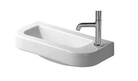 Duravit's Happy D. Hand Rinse Basin in white porcelain measures about 20 inches wide and 10 inches deep; $180 at Every Faucet.