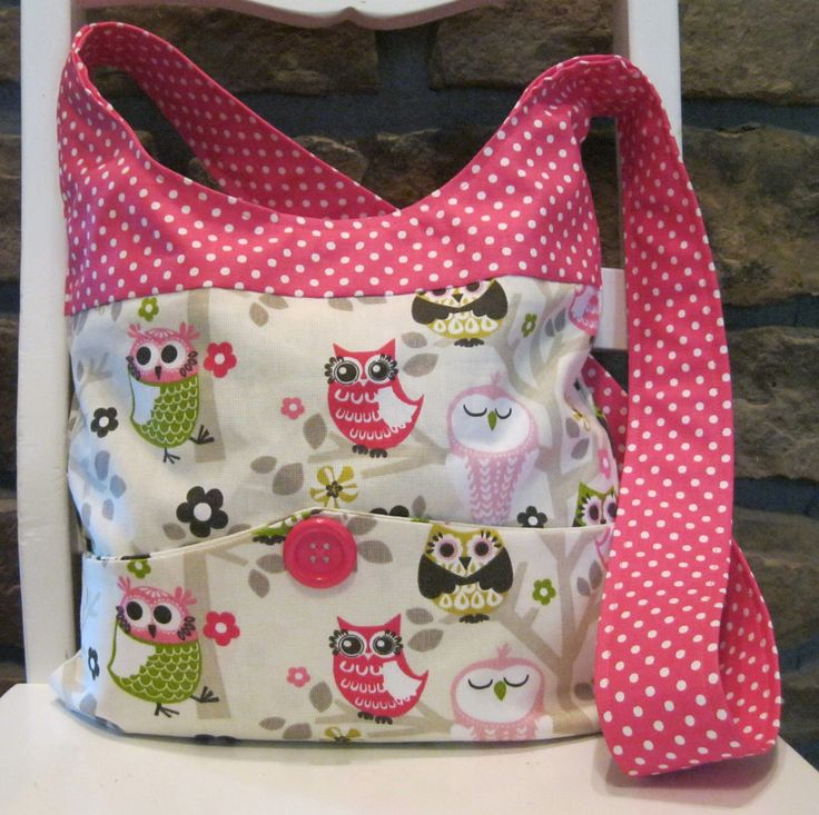 Handmade Fabric Bags Purses - Shoulder bag  - Owl and Pink Polka Dot Pattern Fabric