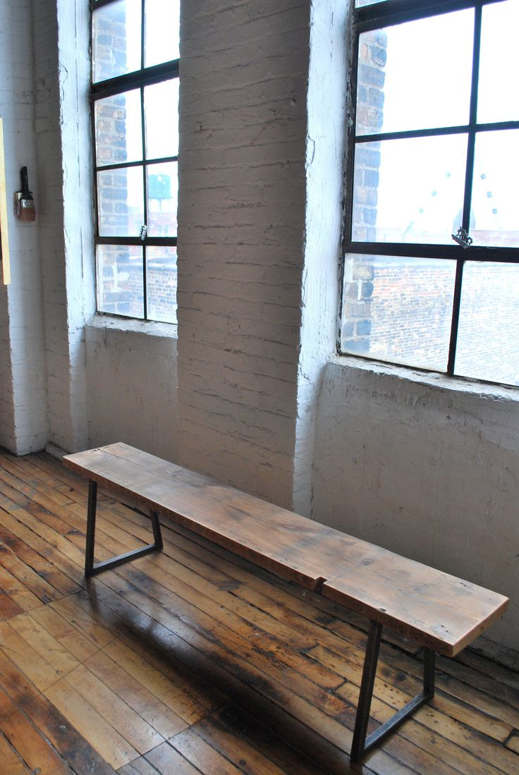3.5 ft reclaimed wood, industrial modern styled Brooklyn Bench, free shipping. $275.00, via Etsy.