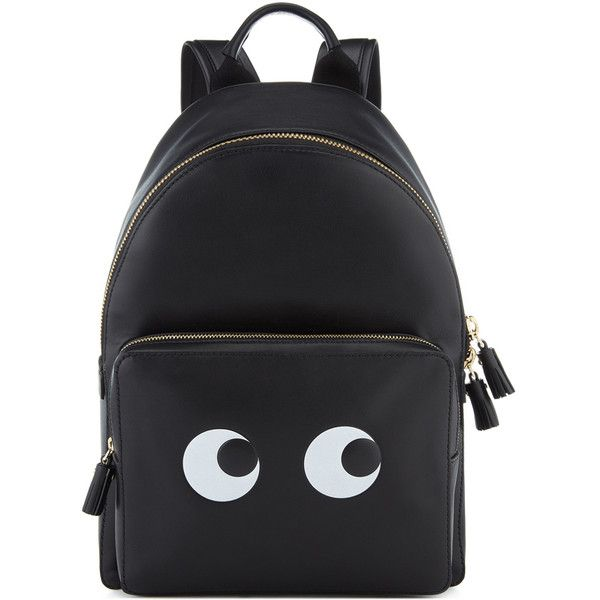 Anya Hindmarch Eyes Right Mini Black Backpack (€1.350) ❤ liked on Polyvore featuring bags, backpacks, backpack, bolsas, knapsack bag, daypack bag, mini bag, miniature backpack and rucksack bags