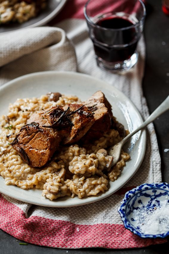 Date night pork fillet with mushroom risotto - Simply Delicious. Dinner | Valentine's Day | Romantic meal | Recipe | Meal for two | Pork tenderloin | Easy recipe