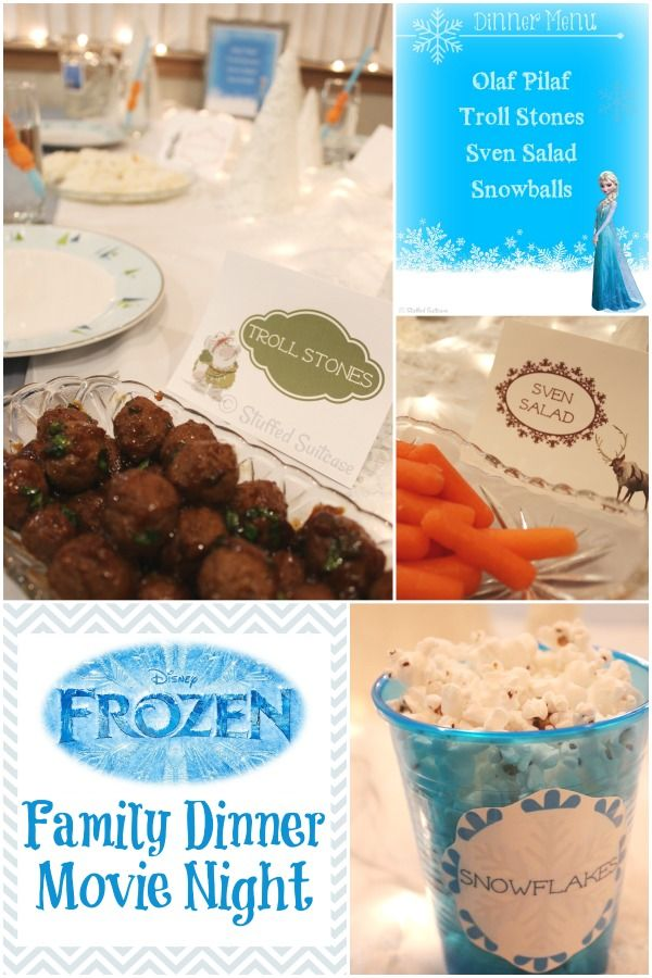 Frozen Party Family Dinner & Movie Night + Printables - Stuffed Suitcase #familynight #movies #printables