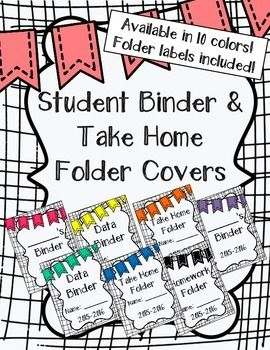Student Binder & Take Home Folder Covers (w/ Folder Labels                                                                                                                                                      More