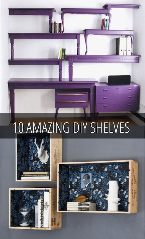 10 Amazing DIY Shelves | Babble I love the tables repurposed as shelves Have old bookcase shelves but no frame, just drill some holes and run metal cable through, add stops and bam, hanging shelves for my reading nook