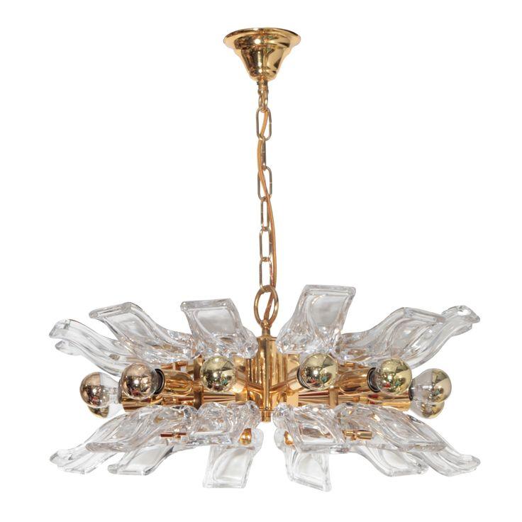 Orrefors stylized flower crystal chandelier