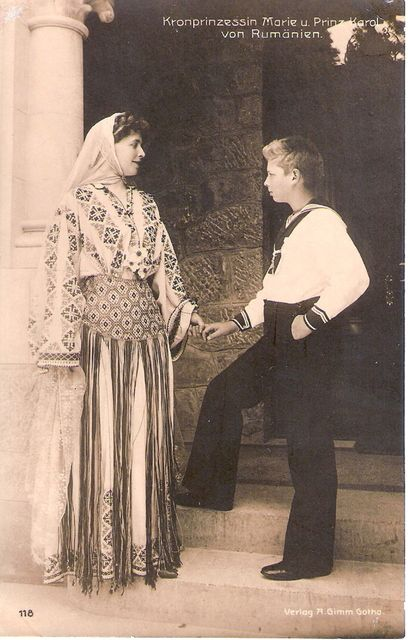 Queen Marie and Prince Carol of Romania.