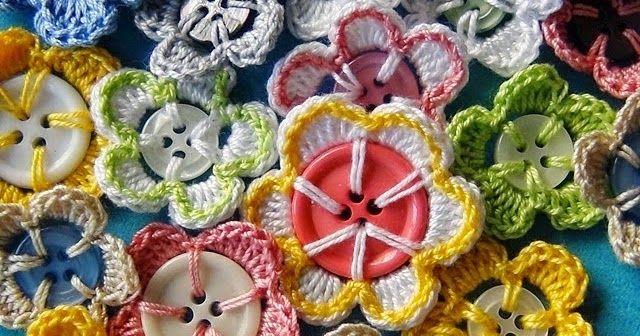 gehaakte knopen, knopen haken, bloemknopen, gehaakte bloemknopen, tutorial knopen haken, recycle je knopen, gehaakte knopen