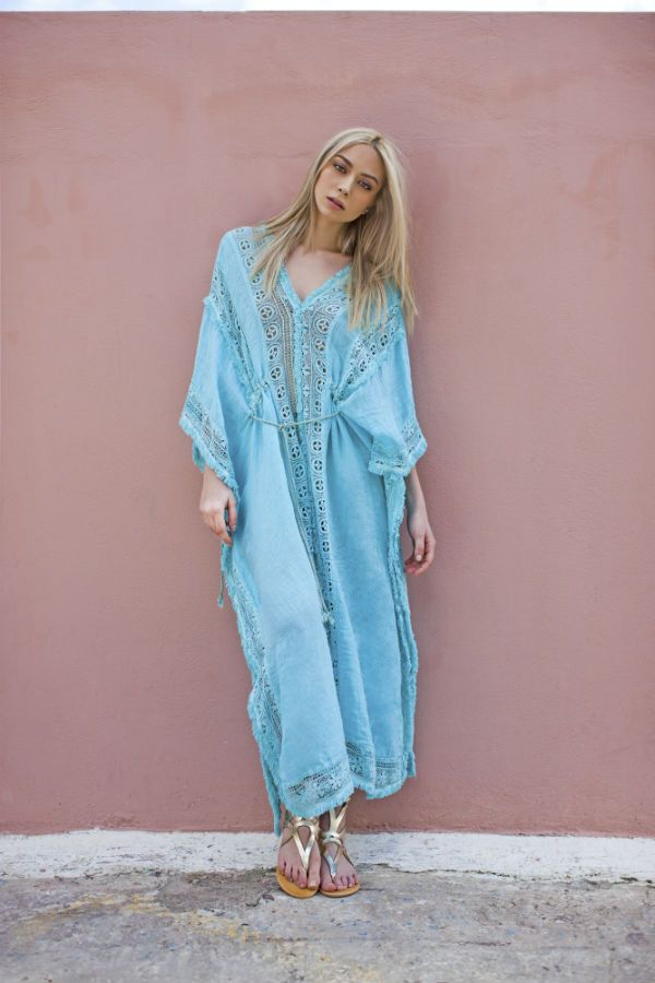 Haris Cotton,Linen Gauze Dress with Cotton Lace 960 Aqua