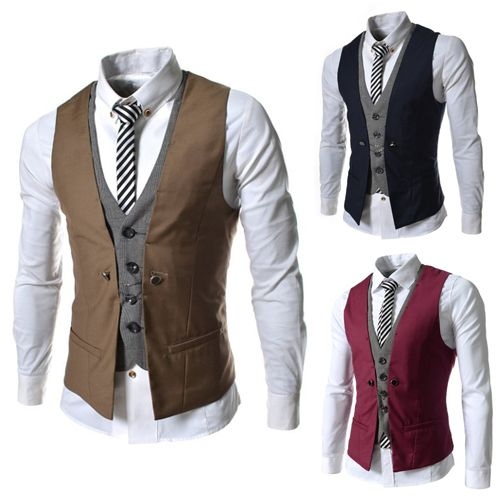 2016 Fashion high quality men's loose-fitting suit jacket Vests, good quality artificial two-piece vests PM12