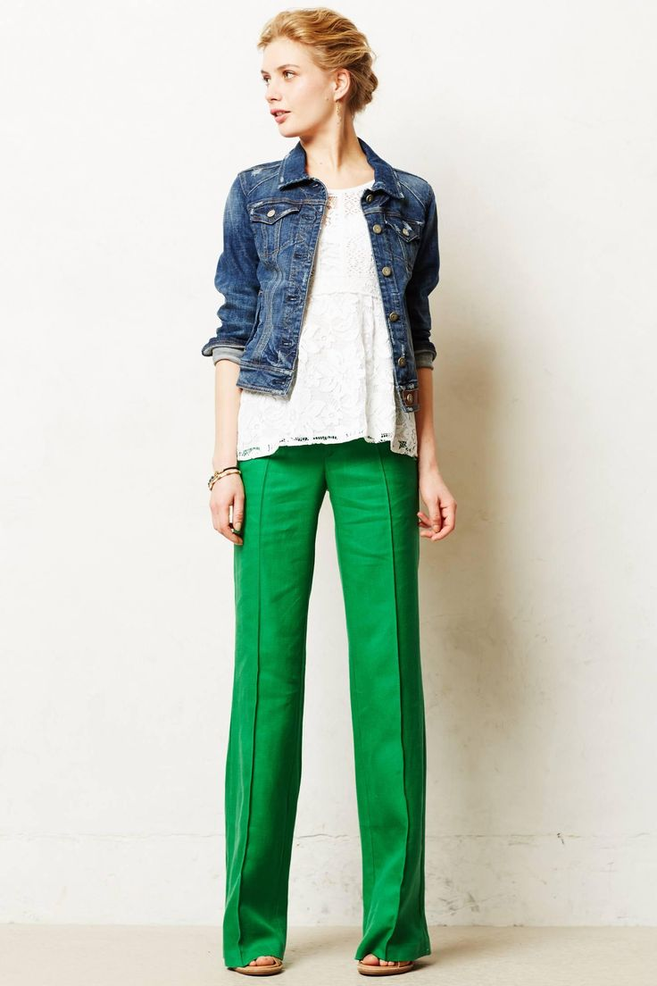 denim and kelly green / colored pants / jeans jacket / basic style / casual outfit / work with style /