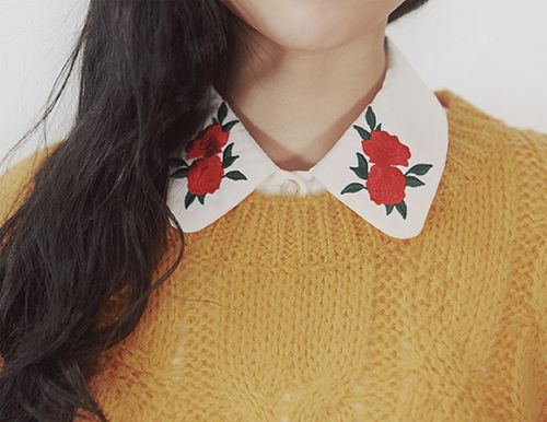 Embroidered Rose Collar . Mustard Yellow Jumper . Sweater . Vintage