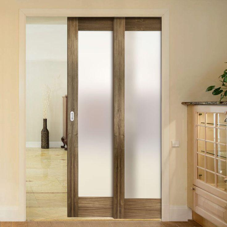 Twin Telescopic Pocket Porto Glazed Walnut Veneer Doors - Frosted Glass - Prefinished.      #pocketdoor  #interiordesign  #oakdoor  #telescopicdoors