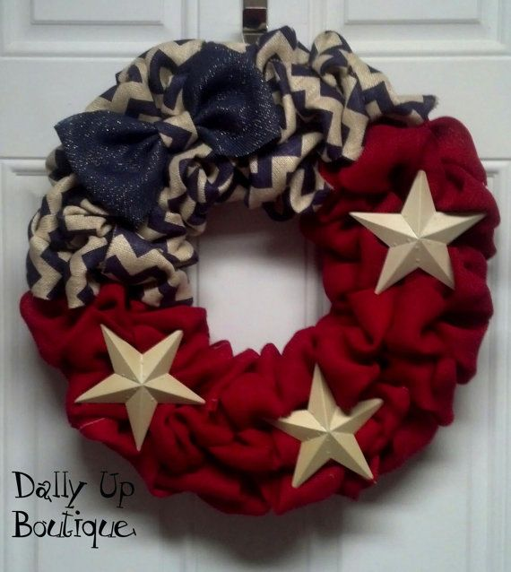 Burlap Wreath - 4th of July Wreath - Red with Navy and White Chevron - PatrioFourth of July  - Burlap Wreath Decor - Door Wreath