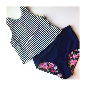modest swimsuit, summer, cute, tankini, high waisted bottoms, bellapia desigs