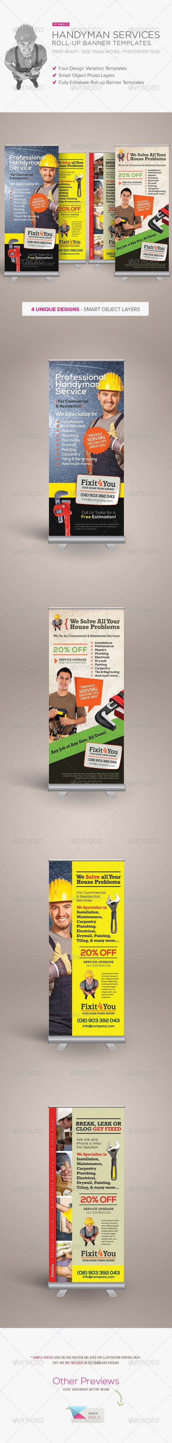 Handyman Services Rollup Banners — Photoshop PSD #handyman #residential • Available here → https://graphicriver.net/item/handyman-services-rollup-banners/8143394?ref=pxcr