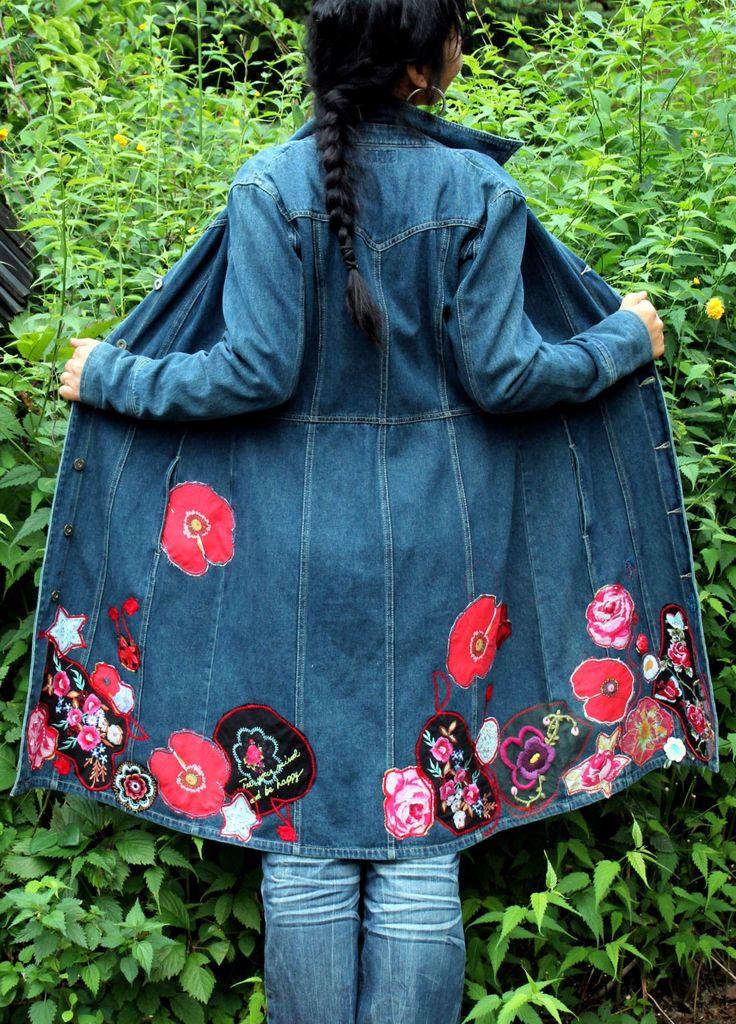 Crazy floral appliqued jeans coat