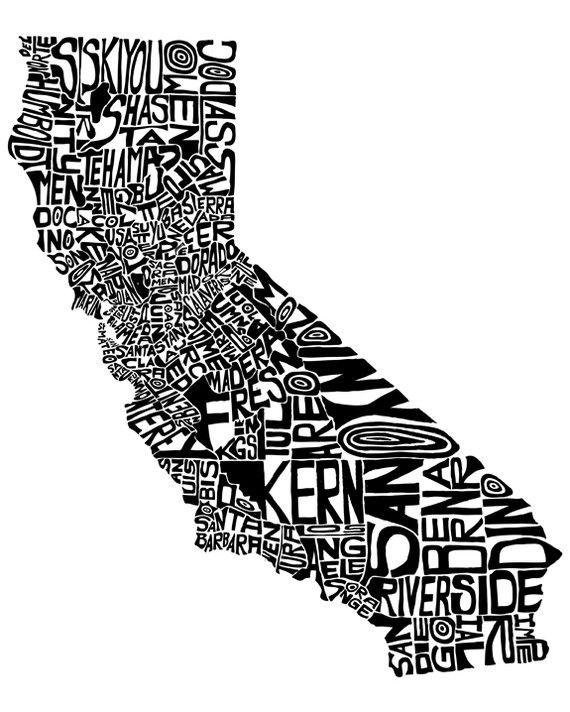 Cali...: California Counties, Favorite Places, California Dreamin, Maps, Typographic California, Art Prints, Typography, U.S. States