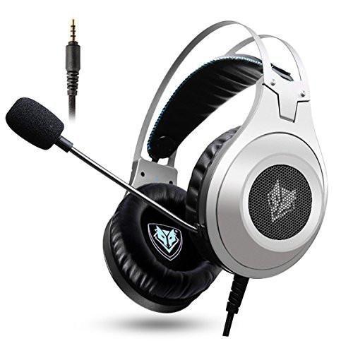 Casque Gaming, NUBWO N2 Casque Gaming Stéréo Filaire PC avec Micro à Réduction du Bruit, Casque Over-Ear pour PC, MAC, PlayStation 4, Xbox One, Android et iPhone-Argent, livraison gratuite !