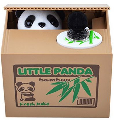 cute piggy bank panda bear takes your money. What a fun gift!  These are adorable and I want one!