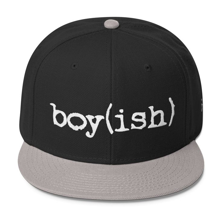 """Check out this white """"Boyish"""" printed classic snapback style made by GenderUnique! Make a non-binary statement in this hat made right here in the USA. Description: - Brand - GenderUnique - Style - Sna"""
