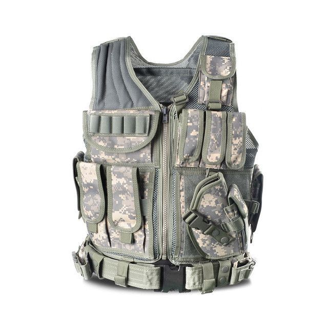 MaHeu Men's Military Tactical Vest Army Hunting Molle Airsoft Vest Outdoor Body Armor Swat Combat Painball Black Vest for Men