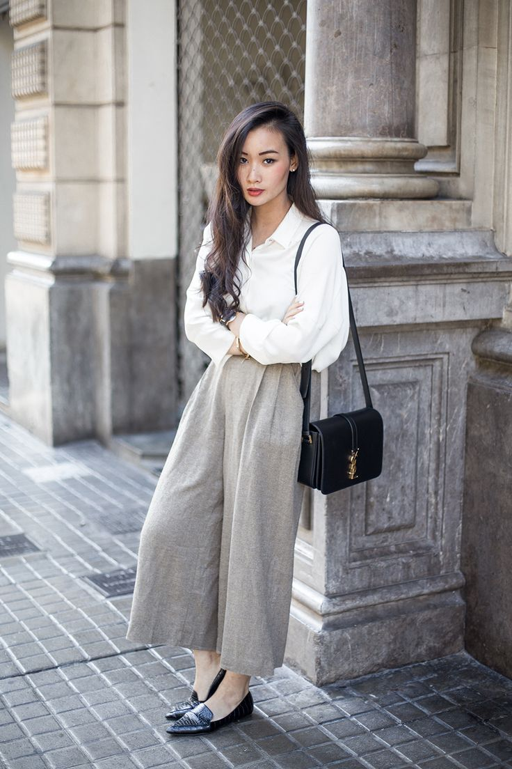 Culottes + White Blouse + Pointed Flats