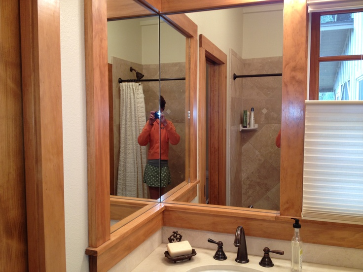Bathroom Corner Mirrors Framed In Pine Remodel Ideas