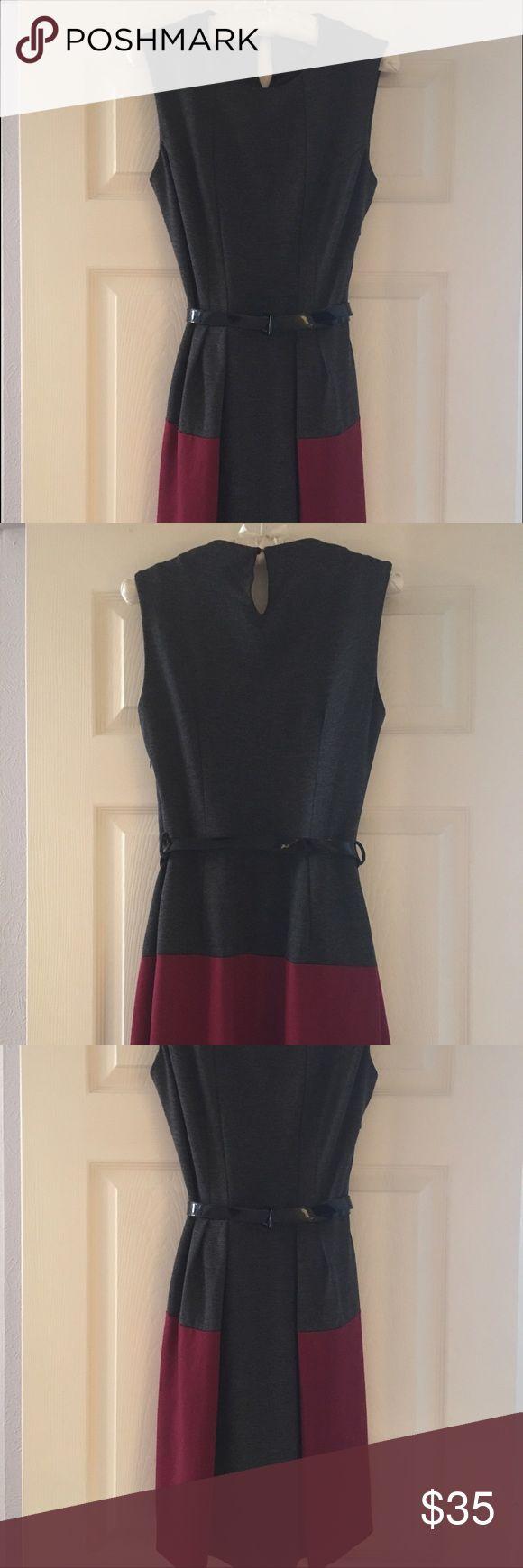 Mango Suit Dress Size M Gray/Red Mango dress with patent black belt Mango Dresses Midi