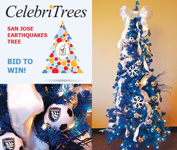"""""""Kick"""" up your holiday decór and BID to WIN on the San Jose Earthquakes tree today! http://trees.myab.co/  Make it your goal to take home this shimmering San Jose Earthquakes tree that is sure to create a rumble."""