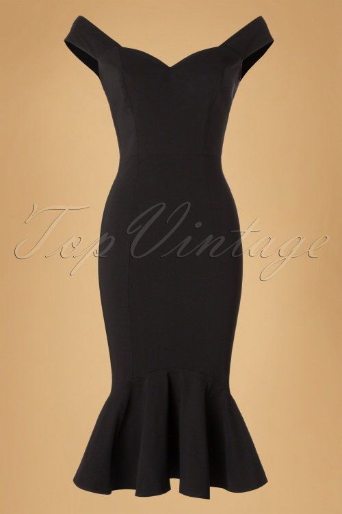 Collectif Clothing Josephine Fishtail Dress in Black