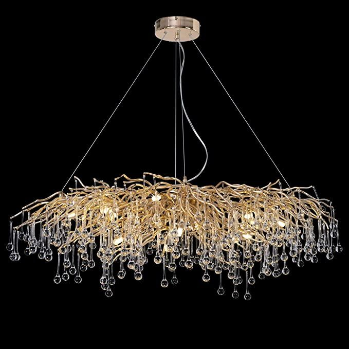 Amazon Com Antilisha Modern Crystal Chandelier Rectangle Gold Branch Forest Chandelier Lighting In 2020 Modern Crystal Chandelier Crystal Chandelier Large Chandeliers