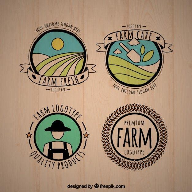 Pack de logos de granja bonitos dibujados a mano. Editable en Ilustrator.
